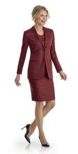 20 Zakelijke jurk gemaakt met zakelijk vrouwelijk colbert gemaakt van Holland and Sherry satijn in bordeaux rood