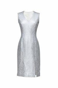 Jurkje op maatgemaakt van Chanel stof in zilver