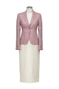Lange jurk met dames blazer in wit met roze